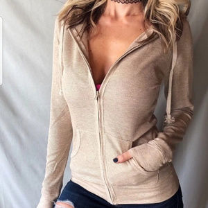 Tops - TAN THERMAL ZIP UP HOODY WORKOUT JACKET SWEATER S